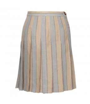 École skirt club in beige and blue stripes by Lena Hoschek - SS21 summer collection - Antoinette's Garden