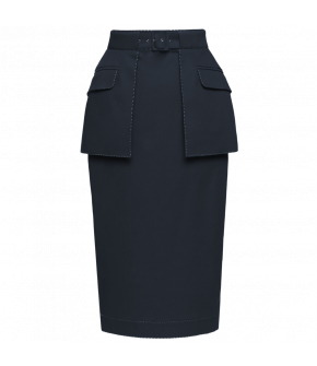 "Blue pencil skirt with flap pocket peplum by Lena Hoschek ""Appointment Skirt midnight"""