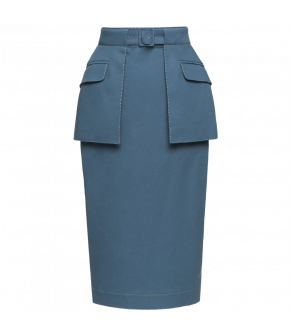 Classic pencil skirt in a midblue shade featuring a high waistband and a detachable peplum with flap pockets. The peplum is attached with the matching fabriccovered belt. This tightfitting style fastens at the back with a zip and has a walking slit at the