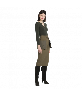 "Army-green pencil skirt with pocketpeplum by Lena Hoschek ""Aviator Skirt"""