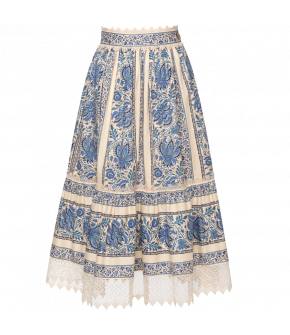 Bergère Skirt in creme with blue flowers by Lena Hoschek - SS21 summer collection - Antoinette's Garden
