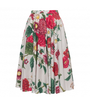 Catherine Skirt dahlia in white with flowers by Lena Hoschek - SS21 summer collection - Antoinette's Garden