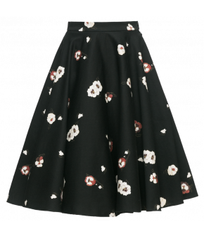 Catherine Skirt flora, a black circle skirt with white flowers by Lena Hoschek