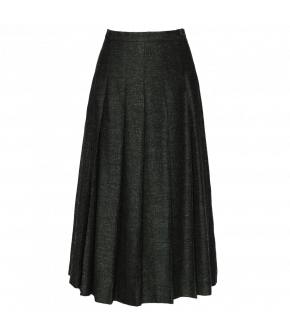 Dark-green A-line midi-skirt. Featuring box pleats, the skirt fastens at the side with a zip and button at the waistband. Fully lined.