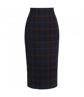"""Daphne skirt blue check"" by Lena Hoschek - Artisan Partisan - Autumn/winter collection AW20/21"