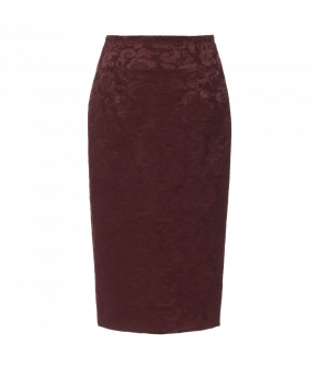 Simple pencil skirt made from subtly shiny floral Damask. This figure-hugging skirt has a high waistband and a back slit. Featuring a central back zip. Lined.