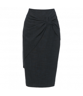 Figure-hugging pencil skirt with draped bow across the front. Back zip fastening. Fully lined.