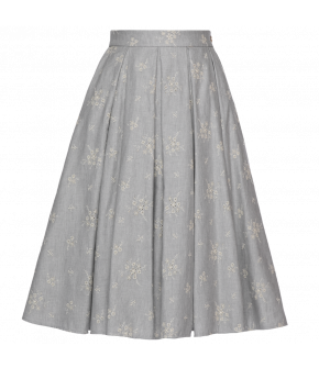 "light blue flared skirt ""Faye"" is embroidered by Lena Hoschek - SS20 Season of the Witch - Lena Hoschek Skirt - Lena Hoschek Summer 2020"