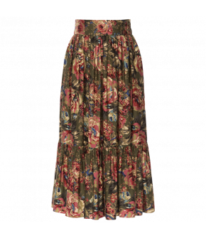 "Flowing green flower print dress by Lena Hoschek ""Freedom Skirt"" - Autumn/Winter 2019 - Men At Work"
