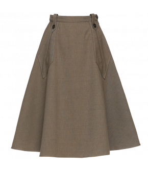 "Beige flared skirt by Lena Hoschek with belt loops and diamond shaped pockets ""Glenn Skirt sand"""