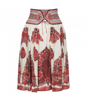 Pleated skirt with ribbon embellished waistband and lace-up detail. Side zip fastening.