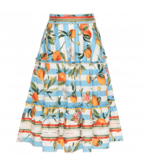 """Flowing striped skirt with citrus pattern and ribbon embellishments by Lena Hoschek """"Juicy Skirt"""""""