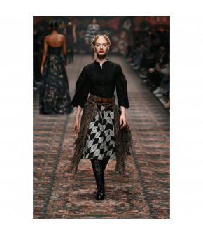 "Flared black-and-white ""Kaleidoscope"" skirt from Lena Hoschek with decorated waistband - Artisan Partisan - Autumn/winter collection AW20/21"