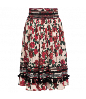 "Flared skirt ""Kayla"" with rose print from Lena Hoschek - Artisan Partisan - Autumn/winter collection AW20/21"