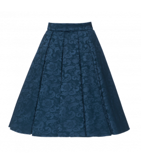 "Royal blue skirt made from Damask fabric by Lena Hoschek for AW18/19 collection ""Wintergarden""."