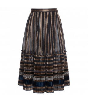 "Semi-transparent pleated skirt ""Leyla"" from Lena Hoschek with decorative ribbons - Artisan Partisan - Autumn/winter collection AW20/21"