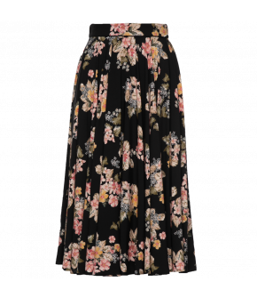 "Black flared skirt ""Lillie"" is decorated with sweet flowers - by Lena Hoschek - Season of the Witch - SS20 - Lena Hoschek Summer 2020"