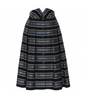 Full skirt with wide, highcut waistband. Made from a striking striped fabric with wide box pleats and a Button-through front. Featuring hidden side-seam pockets. Fully lined.