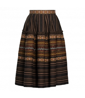 "Knee-length striped ""Marquis"" skirt from Lena Hoschek with decorative ribbons - Artisan Partisan - Autumn/winter collection AW20/21"