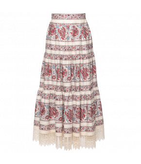Paysanne Skirt with red and blue floral print by Lena Hoschek - SS21 summer collection - Antoinette's Garden