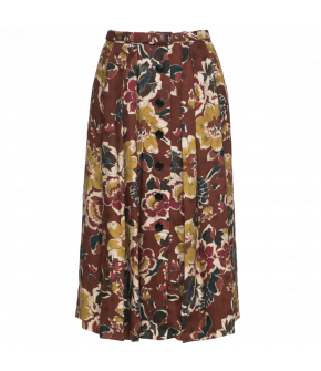 "Floral skirt by Lena Hoschek in rusty brown shades with a Button-through front ""Poet Skirt burnt"""