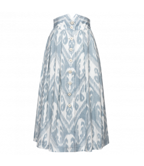 Salon Skirt in white with blue ikat print by Lena Hoschek - SS21 summer collection - Antoinette's Garden