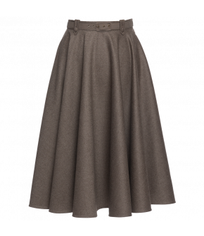"Beige circle skirt ""Traveller"" from Lena Hoschek with belt and side pockets - Artisan Partisan - Autumn/winter collection AW20/21"