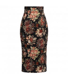 "Floral high-waisted ""Wanda"" skirt from Lena Hoschek with kick pleat - Artisan Partisan - Autumn/winter collection AW20/21"
