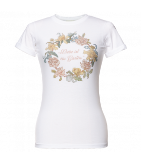 "Lena Hoschek t-shirt with vintage floral and ""love is a garden"" print for SS21 collection ""Antoinette's Garden"""