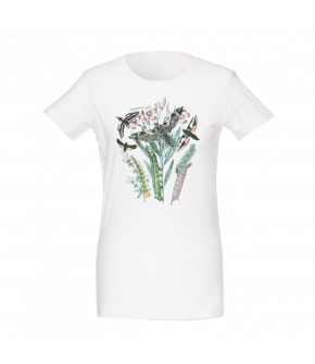 Simple white T-Shirt made of soft cotton with a moth motif at the front. The large design featuring plants, caterpillars and moths was developed exclusively by Lena Hoschek for the Wintergarden collection. Short sleeves.