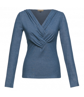 "Pleated front V-neck top in light blue by Lena Hoschek ""Ivy Top denim"""