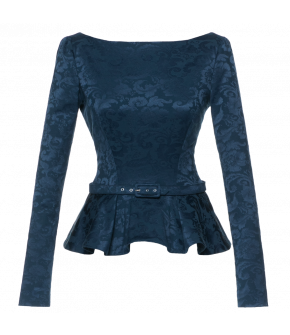Long-sleeved top with peplum, deep V-neckline and button fastening detail at the back. Featuring a matching waistbelt to further accentuate the silhouette. Lined.