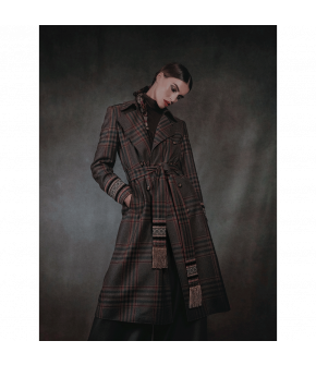 "Plaid wool trench coat ""Artisan"" from Lena Hoschek with waist belt - Artisan Partisan - Autumn/winter collection AW20/21"