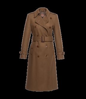 "Brown cashmere ""Gentleman"" trench coat from Lena Hoschek with waist belt - Artisan Partisan - Autumn/winter collection AW20/21"