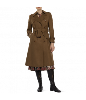 "Brown cashmere ""Gentleman"" trench coat from Lena Hoschek with waist belt - Artisan Partisan - Autumn/winter collection AW20/21"