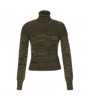 Rollneck made from Merino wool in various earthy green shades. With ribbed hems at the sleeve and hem. Made with contrasting knits for a unique finish reminiscent of a cocoon.