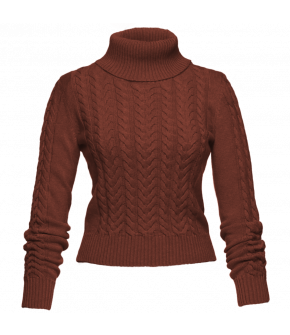 Stanley Turtleneck with cableknit pattern by Lena Hoschek in brick-red