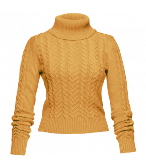 "Yellow turtleneck with cableknit pattern by Lena Hoschek ""Stanley"" in corn yellow"