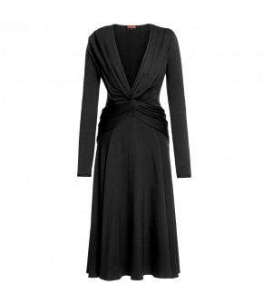 "Long-sleeved black ""Carol"" dress in jersey from Lena Hoschek with deep v-neckline"