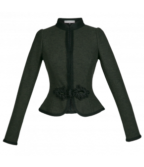 Lena Hoschek traditional jacket with rounded and peplum-like hem. Featuring long sleeves, short banded collar, hook- as well as passementerie-fastening. Slim fit. Extrafine new wool fabric.
