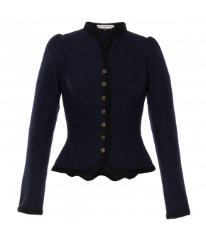 Traditional cropped jacket in blue with peplum hem and metal buttons down the front. Featuring a small standup collar and slightly puffed sleeves.