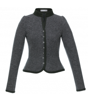 Exquisitely crafted long-sleeve Janker made of fine but firm merino wool from the Lena Hoschek Tradition collection. Dirndl jacket with button border at the front, rounded hem, and slim fit.