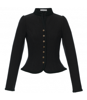 "Cropped fitted wool jacket with metal buttons by Lena Hoschek Tradition ""Fritzi Walkjanker"" in black"