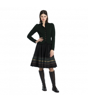 Fitted green jacket with braid trim by Lena Hoschek Tradition