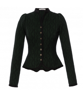 "Fitted green jacket with braid trim by Lena Hoschek Tradition ""Maxi Walkjanker Waldfest"""