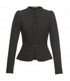 Traditional short wool jacket with handcrafted heart-shaped frills along the neckline and front. Fitted shape with peplum-like hem. Fastens with two metal buttons and a small chain at the front. There are also two hook fastenings.