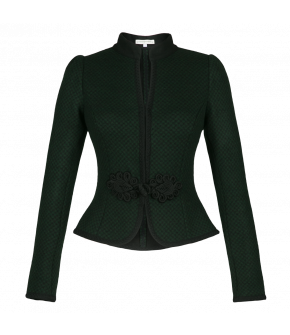 Short fitted wool jacket with braided trim. Featuring a small stand-up collar, this traditional style jacket has a passementerie-fastening.