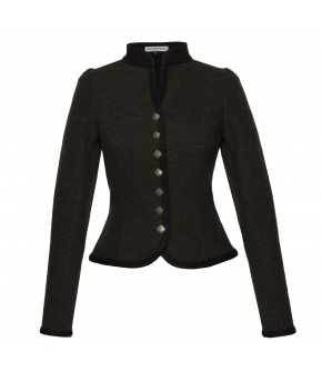 "Cropped fitted jacket with metal buttons by Lena Hoschek Tradition ""Fritzi Walkjanker"" in dark green"