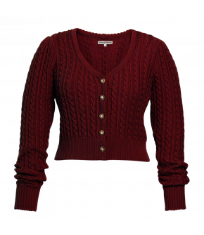 Alma Cardigan cherry red by Lena Hoschek Tradition for the autumn/winter collection 20/21.