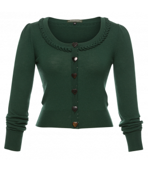 Herzerl Cardigan Tanne in green- SS21 summer collection - Lena Hoschek Tradition